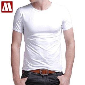T Shirt Stretch Lycra Tight Tees Slim Camisetas Men Tshirt Leisure Summer O-neck Short Sleeved Cotton Men's Black White 210709