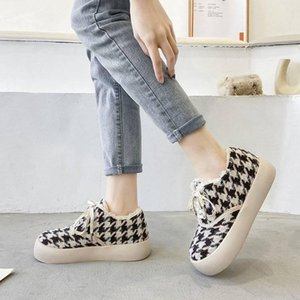 Boots 2021 Plush Thick-soled Bread Shoes Women's Winter Tide Houndstooth Bird Hair Lazy Loafers A Pedal Big Head Cotton