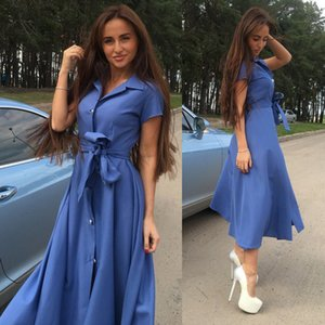 for women clothing dress plus size summer maxi dresses single-breasted 5 colors large swing type casual dresses Slits long sexy