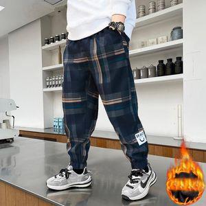 Trousers EuerDoDo Autumn Winter Boys Pants Casual Children's Warm Velvet Plaid Long Pant 2021 Kids Clothing