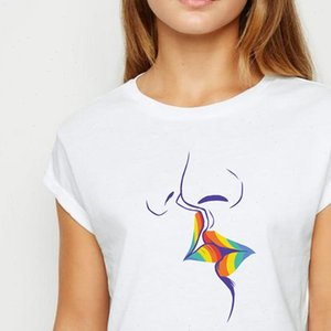 Women T Shirt O Neck White Top Tee LGBT Kisses Avant garde Printing Design Prevalent Spring Summer shirts