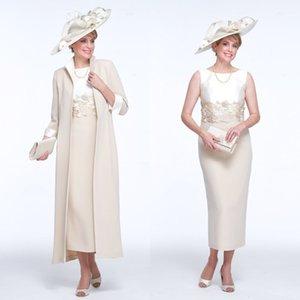2020 Mother Of The Bride Suits Jewel Sleeveless Applique Satin Wedding Guest Dress Tea Length Sheath Wedding Dresses
