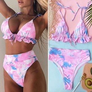 Women's Tie-Dye Ladies Printed Swimsuit Outer Single Pink Swimwear
