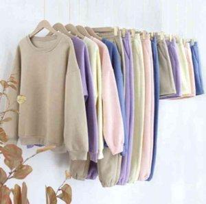 Drop shipping Wholesale price cotton plain women 2 two piece set clothing sweatshirt hoodie jogger shorts sweat suit sets