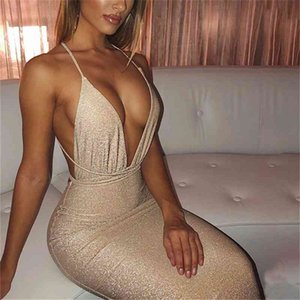 Women's Sequin Glitter Sexy Deep V Neck Dress Halter Backless Sleeveless Cross Bandage Bodycon Cocktail Party Club Midi Dresses