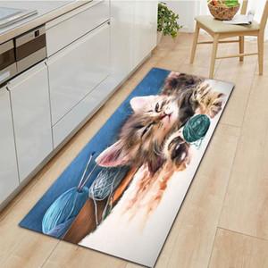 Carpets Animal Flannel Entrance Doormat Home Kitchen Carpet Cat Printed Indoor Outdoor Floor Mats Non-Slip Living Room Bathroom Rugs