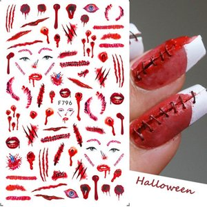 Halloween Nail Stickers Skull Spoof Spider Web Adhesive Nails Sticker Decals
