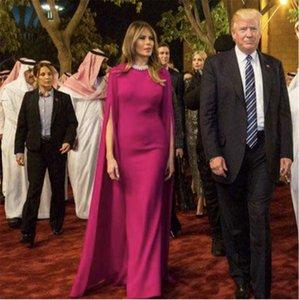 2021 Фуксия Арабские знаменитости вечерние платья с накидной длиной пола Дубайское красное ковровое платье Prom Pram Promate Party Party