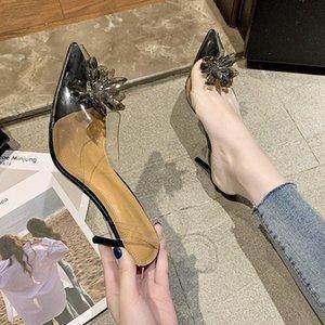 Silber Strass Kristall Frauen High Heels 2021 Punkte Party Braut Schuhe Klar PVC Deisgner Sandalen Pumps Zapatilla Mujer Kleid