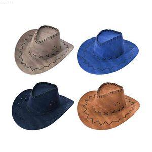 2021 56-58CM Western Cowboy Hat for Men Women Outdoor Faux Leather Summer Wide Brim Beach Travel Fedoras Cap48AL{category}