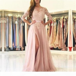 Blush Pink Lace Tulle Evening Dress Half Sleeve High Split A Line Long Formal Prom Gown 2019 Custom Made Formal Party Dresses