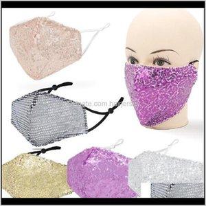 Дизайнерские маски Мода Bling Sequin Защитная пыленепроницаемая моющаяся ветрозащитная многоразовая лицевая сторона упругих растоп