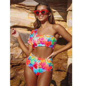 Swimwear 2020 New Sexy Women High Waist Bikini Swimsuit Push Up Biquini Bathing One Shoulder Ruffle Swim Suit