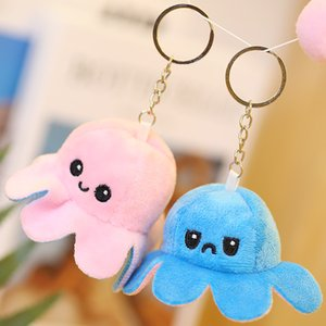 Reversible Flip Octopus Keychains Animal Key Chains Rings Jewelry Plush Doll Toys Pendants Bag Charms Double-Sided PP Cotton Metal Keyring Holder Accessories