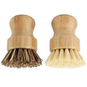 Bambu Çanak Scrub Fırçalar Mutfak Ahşap Temizleme Çjeler Yıkama Dökme Demir Tava / Pot Doğal Sisal Kıllar