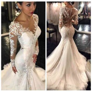 2020 Gorgeous Lace Mermaid Wedding Dress Dubai African Arabic With Skin Top Petite Long Sleeves Slim Fishtail Bridal Gowns