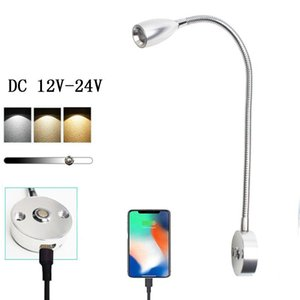 Wall Lamps DWT 3W RV Boat LED Bedside Reading Light With USB Charing Port Gooseneck Touch Dimmable Lamp Yacht Truck Trailer Spotlight