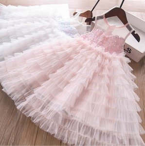 Girls sequins lace gauze party dresses summer Kids bling vest tiered tulle cake princess dress children's clothing A6449