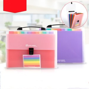 13 Grids A6 file Bag Cute Rainbow Color Mini Bill Receipt Pouch Folder Organizer Document Holder Office Supply