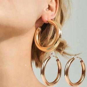 Dangle & Chandelier Minimalist Personality Earrings Metallic Mirror Trendy Punk Rock Thick Tube Large Round Hoop Women's