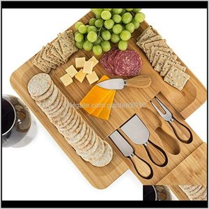 Tools Bamboo Cheese Board Set With Cutlery In Slideout Der Including 4 Stainless Steel Knife And Serving Utensils Wb3310 Wt39E Mlubv