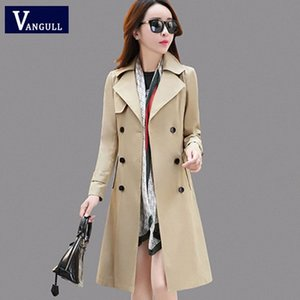 Vangull Women Trench Coat Spring Fall Fashion Trench Turn-down Collar Double Breasted Patchwork Long Trench Coat Slim Wind Coat 02x4#