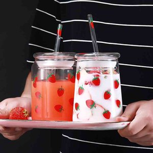 600ML Strawberry Glass Cup Cute Strawberry Water Bottle with Straw Juice Milk Tea Wine Coffee Mug Creative Cup for Kids Adult 210409