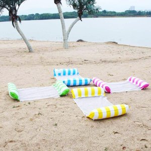 Summer Water Hammock Inflatable Floating Mattress Swimming Pool Lounge Bed Clip Net Stripes Back To Row Floats & Tubes