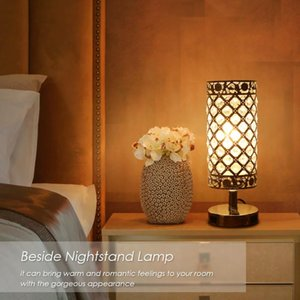 Tomshine Crystal Beside Table Lamp Decorative Desk Light With Dual USB Charging Port Modern Nightstand For Bedroom Living Lamps