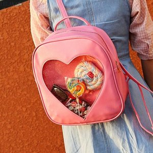 Backpack Sweet Girl Love Heart Shape Women Candy Color PU Leather Ita Bag Transparent Small School Bags For Teenage Girls Lolita