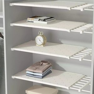 Wardrobe retractable storage rack shelf cabinet layered partition kitchen storage bedroom paste type