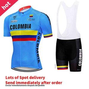 Yeni erkek Mavi Kolombiya Bisiklet Bisiklet Forması Önlüğü Şort Kıyafet Yarışı Takım Elbise Kısa Kollu Gömlek Yaz Spor Bisiklet MTB Jersey X0503