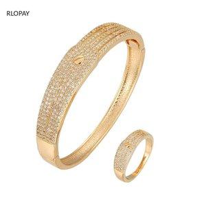 Trendy Bolt Design Armreif Ring Set Kupfermaterial mit Spanneinstellung Cubic Zirkon Gold und Silber Braut