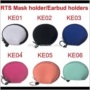 Party Favor Multifunction Neoprene Small Face Mask Holder Earphone Bags Printing Purse Solid Zipper Coin Pouch Yya440 60Pcs Jdlgj Wkrsc