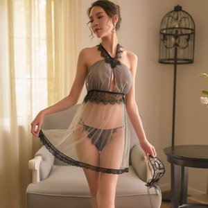 silk dress T190917 perspective women's pajamas sexy lingerie lace dressing gown two pieces set transparent bra Yhotmeng sling luxurious