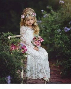 Cute Country Flower Girls Dresses Cheap Full Lace Long Sleeves Girl Pageant Party Gowns Teens Kids Formal Communion Dresses