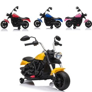 6V Kids Electric Ride on Motorcycle with Training Wheels PP Plastic Yellow Blue Red Pink Children's Gifts
