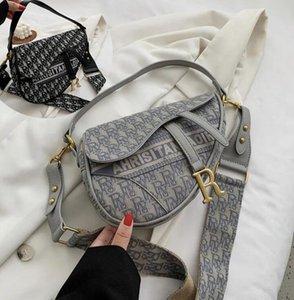 2color Women Fashion Vintage Designers Saddle Handbags Ladies Embroidery Letters Print Saddles Houlder Messenger Single Shoulder Bags Luxury Evening Bag