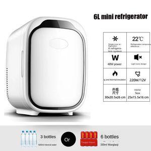 Car Mini 6L Small Fridge Cosmetic Portable Auto Food Drinkes Quick Refrigeration Refrigerator Skincare Freezer