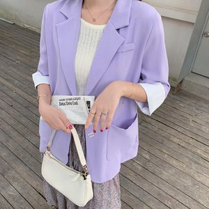 Women's Suits & Blazers Fitaylor Spring Autumn Women Fashion Solid Color Buttons Loose Coats Office Lady Notched Half Sleeve Single Breasted