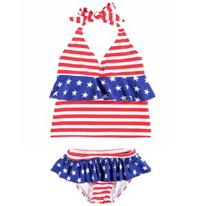 Baby Girl Striped Swimsuit Kids Stars Lace Hanging Neck Bikinis American Flag Independence National Day USA 4th July Two-Piece