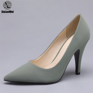 JIALUOWEI 3.9Inch High Heel Lady Sexy Stilettos Pointy Toe Slip On Pumps Office Elgeant Shoes Size 36- 210910