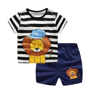 Clothing Sets Baby Boys Clothes Spring Summer Fashion Leisure Lion T-shirt +Beach Shorts Born Girl Kids Bebes Suit