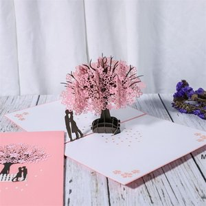 Anniversary Card Pop Up Card Red Maple Handmade Gifts Couple Thinking of You Card Wedding Party Greeting Card DHB6326