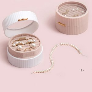 Mini Double Layer Flannel Jewelry Storage Boxes Round Protable Jewelries Package Holder for Ring Earring Bracelet Necklace OWA4854