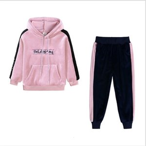 Baby Girls Tracksuit Spring Autumn Gold Velvet Suits Child Long-sleeved Hooded Sweater Pants Two Pieces Set Outfits Sports Suits SALE G12803
