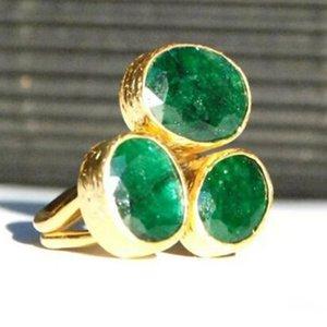 Moderne oval geformte grüne Steinring Zwei Ton 3-Steingold-Metall-Verlobungsringe Band geometrische übertriebene Schmuck-Unisex-Hochzeit