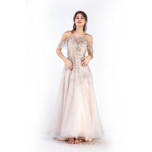 High-end evening dress sling belt flounces plastic waist edge A-word gauze banquet host