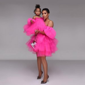 2021 Pink Tulle Mother and Daughter Dresses Off Shoulder Fuchsia Mum & Kids Party Dress Evening Dresse Prom Gown Custom Made