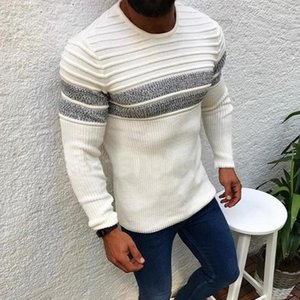 Striped Pullover Sweater Men 2020 Autumn Mens O Neck Knitted Pull Wear Casual Slim Fit Winter Patchwork Knittwear Basic Sweater1